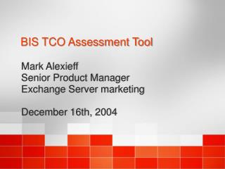BIS TCO Assessment Tool