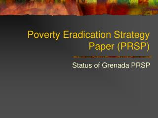 Poverty Eradication Strategy Paper (PRSP)