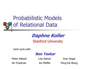 Probabilistic Models  of Relational Data