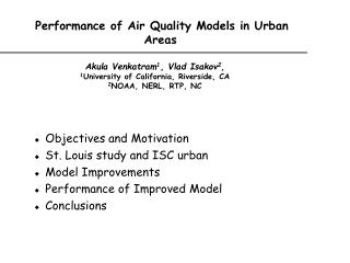 Performance of Air Quality Models in Urban Areas
