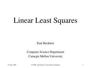 Linear Least Squares
