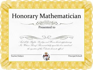 Honorary Mathematician