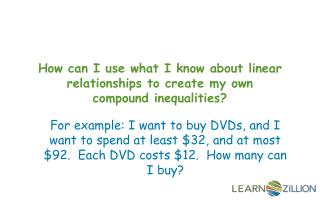 How can I use what I know about linear relationships to create my own compound inequalities?