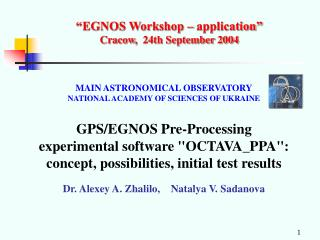"""EGNOS Workshop – application"" Cracow ,   24th September 2004"
