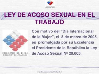 LEY DE ACOSO SEXUAL EN EL TRABAJO
