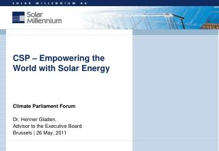 Climate Parliament Forum Dr. Henner Gladen,  Advisor to the Executive Board
