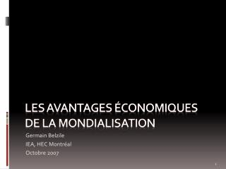 Les avantages économiques de la mondialisation