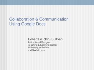 Collaboration & Communication  Using Google Docs