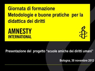 Giornata di formazione  Metodologie e buone pratiche  per la didattica dei diritti