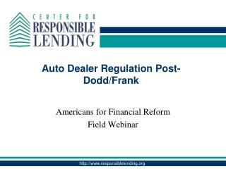 Auto Dealer Regulation Post-Dodd/Frank