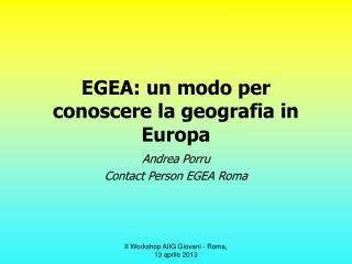 EGEA: un modo per conoscere la geografia in Europa