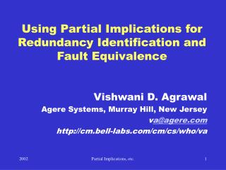 Using Partial Implications for Redundancy Identification and Fault Equivalence