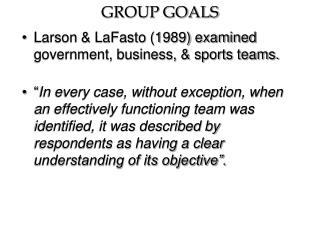 GROUP GOALS