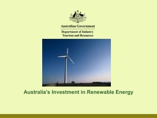 Australia's Investment in Renewable Energy