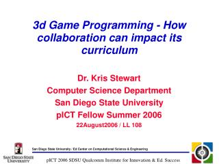 3d Game Programming - How collaboration can impact its curriculum