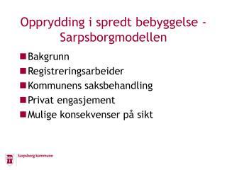 Opprydding i spredt bebyggelse - Sarpsborgmodellen