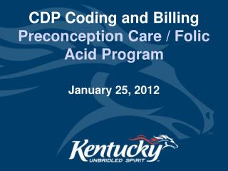 CDP Coding and Billing  Preconception Care / Folic Acid Program