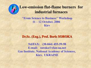 Low-emission flat-flame burners  for industrial furnaces