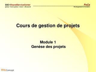 Cours de gestion de projets Module 1  Genèse des projets