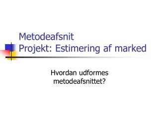 Metodeafsnit Projekt: Estimering af marked