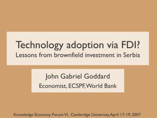 Technology adoption via FDI? Lessons from brownfield investment in Serbia