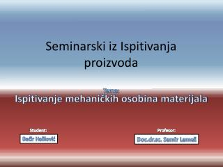 Seminarski iz Ispitivanja proizvoda