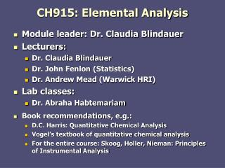 CH915: Elemental Analysis