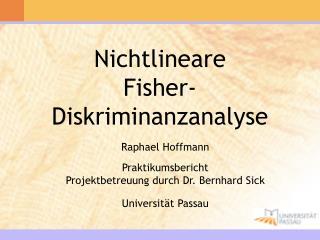 Nichtlineare  Fisher-Diskriminanzanalyse