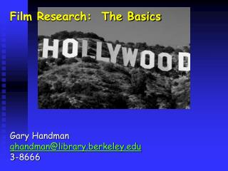 Film Research:  The Basics