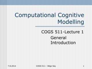 Computational Cognitive Modelling