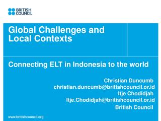 Global Challenges and  Local Contexts