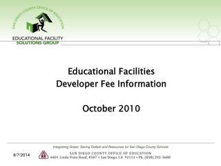 Educational Facilities Developer Fee Information October 2010