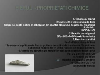 Fierul –proprietati chimice