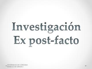Investigación Ex post-facto