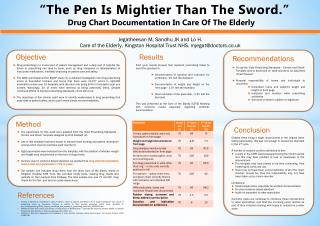 """The Pen Is Mightier Than The Sword.""         Drug Chart Documentation In Care Of The Elderly"