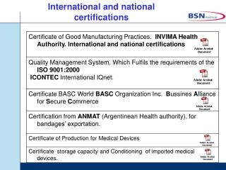 International and national certifications