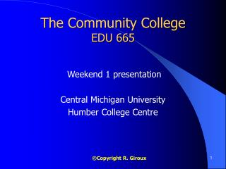 The Community College EDU 665