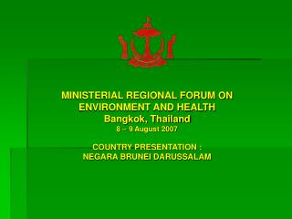 MINISTERIAL REGIONAL FORUM ON  ENVIRONMENT AND HEALTH Bangkok, Thailand 8 – 9 August 2007