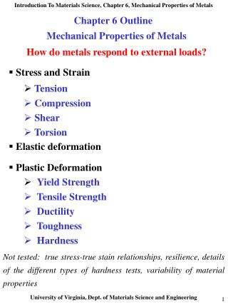 Mechanical Properties of Metals  How do metals respond to external loads   Stress and Strain  Tension  Compression  Shea