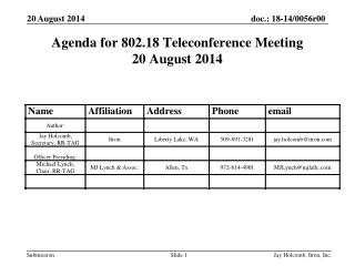 Agenda for 802.18 Teleconference Meeting 20 August 2014