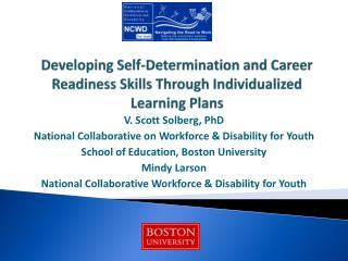 Developing Self-Determination and Career Readiness Skills Through Individualized Learning Plans
