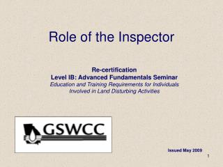 Role of the Inspector