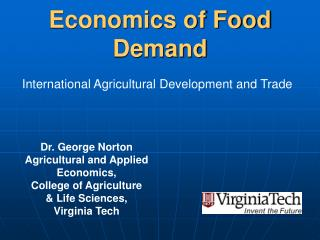 Economics of Food Demand