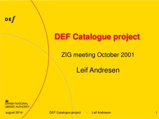 DEF Catalogue project