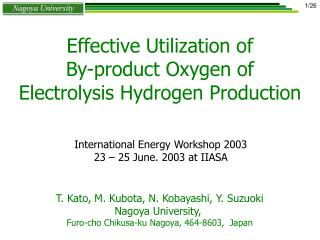 Effective Utilization of By-product Oxygen of Electrolysis Hydrogen Production