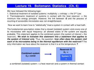 Lecture 19.   Boltzmann  Statistics   (Ch. 6)