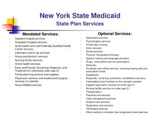 New York State Medicaid State Plan Services