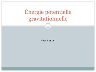 Énergie potentielle gravitationnelle