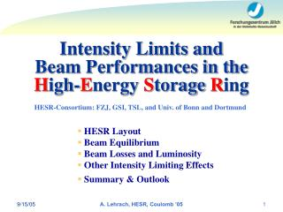 Intensity Limits and  Beam Performances in the  H igh- E nergy  S torage  R ing