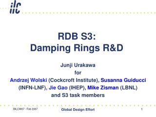 RDB S3: Damping Rings R&D